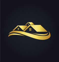 House wave colored gold logo vector