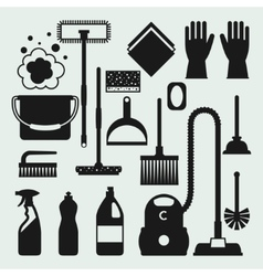 Housekeeping cleaning icons set Image can be used vector