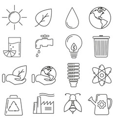 icons on the theme of ecology in a line on a vector image