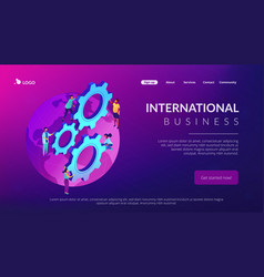 international business isometric 3d landing page vector image