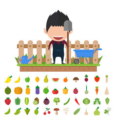 Isolated vegetables set fruits vegetables organic vector