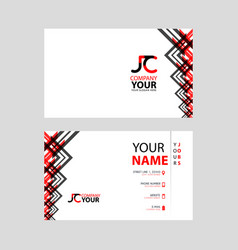 jc logo on red black business card vector image