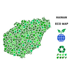 leaf green composition hainan island map vector image
