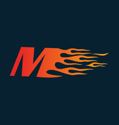 Letter m flame logo speed logo design concept vector