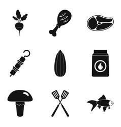 liquid smoke icons set simple style vector image