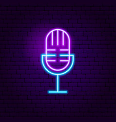 Live microphone neon sign vector