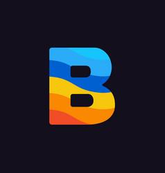 Logo letter b colorful blue red orange vector