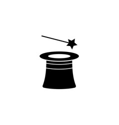 magic hat and wand flat icon vector image