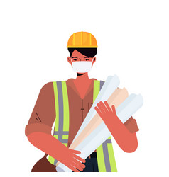male engineer architect with blueprints wearing vector image