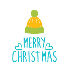 Merry christmas greetings with warm woolen hat vector