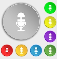 microphone icon sign Symbol on eight flat buttons vector image