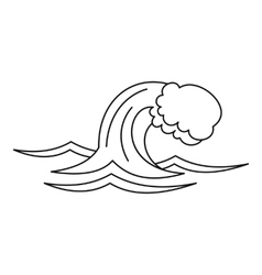 Ocean or sea wave icon outline style vector