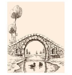 Old stone bridge over river vector