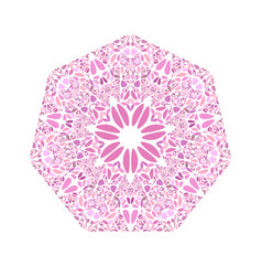 Ornate isolated abstract floral ornament heptagon vector