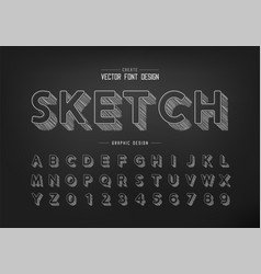 Pencil sketch shadow font and round alphabet vector