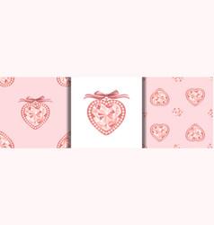 pink diamond jewelry print and seamless patterns vector image