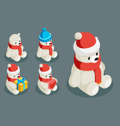 polar white bear isometric christmas animal vector image