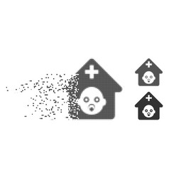 Prenatal hospital dispersed pixel halftone icon vector