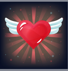 red heart with white wings on dark background vector image