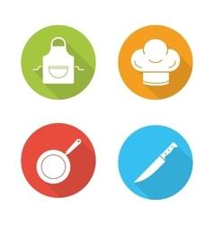 Restaurant kitchen cooking equipment flat design vector
