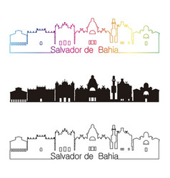 salvador de bahia v2 skyline linear style with vector image