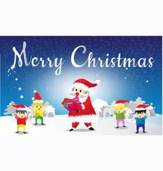 Santa claus and childen seng gift merry christmas vector