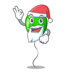 Santa green balloon on character plastic stick vector