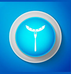 sausage on fork icon grilled sausage and steam vector image
