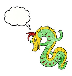 Saxon dragon cartoon with thought bubble vector
