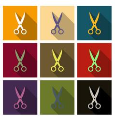 Scissors open on background flat design vector