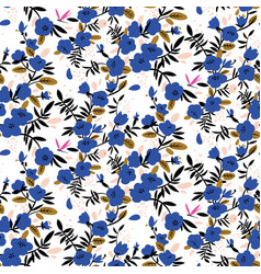 Seamless pattern with bright blue flowers vector