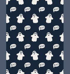 seamless pattern with cute little cartoon ghosts vector image