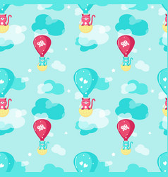 Seamless pattern with cute spring cats vector
