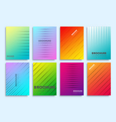 set colorful gradient cover with lines vector image