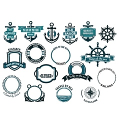 set nautical or marine themed icons and frames vector image