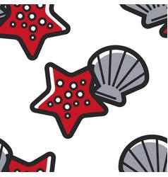 Shellfish and starfish cuban sea bottom seamless vector