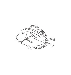 Single continuous line drawing adorable blue vector