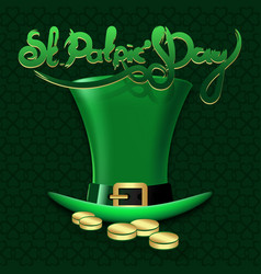 st patricks day green hat hand drawn lettering vector image