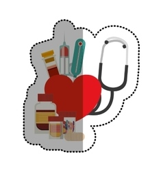 Stethoscope and medicine of medical care design vector