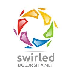 Swirled rainbow ball symbol vector