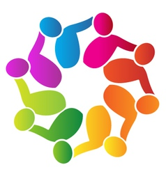 Teamwork people around logo vector image