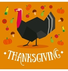 Thanksgiving square postcard with turkey vector image