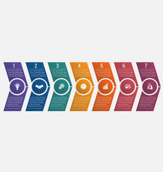 timeline arrows seven positions vector image