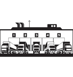 Trucks loading goods from warehouse vector image