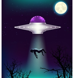 UFO abducts a man vector
