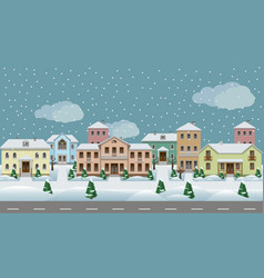 urban landscape set of town houses along city vector image