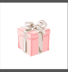 Valentine gift box with red ribbon and bow on pink vector