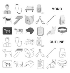 Veterinary clinic monochrom icons in set vector