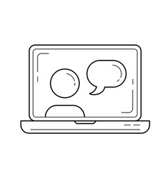 video chat line icon vector image