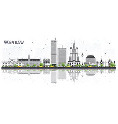 warsaw poland city skyline with gray buildings vector image